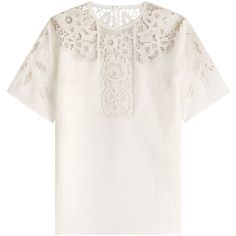 Valentino Embroidered Linen T-Shirt (3,700 CAD) ❤ liked on Polyvore featuring tops, t-shirts, valentino, shirts, white, round neck t shirt, white linen shirt, boxy t shirt, white t shirt and white shirt