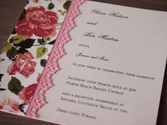 This wedding invitation called Pink Tea Rose has been made using off-white pearlescent paper, recycled decorative paper featuring beautiful rose blossoms, and decorative paper lace. It comes with a pearlescent off-white envelope. (https://www.etsy.com/listing/102366747/pink-tea-rose-wedding-invitation)