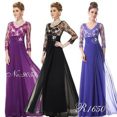 Ever-Pretty Lace Evening Dresses Sleeve Long Prom Formal Party Dress 09053 Evening Dresses Plus Size, Chiffon Evening Dresses, Prom Dresses, Ever Pretty Dresses, Casual Dresses, Fashion Dresses, Party Mode, Dress Indian Style, Bride Groom Dress