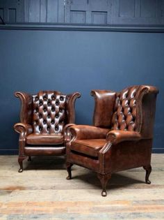 A Pair of Chesterfield armchairs Antique Chairs & Armchairs Drew Pritchard vinta., A Pair of Chesterfield armchai. Man Cave Furniture, Leather Furniture, Home Furniture, Furniture Design, Leather Chairs, Furniture Ideas, Furniture Online, Orange Furniture, Leather Sofas
