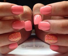 gelnails_by_crys - LIght Elegance quot; Melon Madness and Squeeze Me quot; Gel Toe Nails, Short Gel Nails, Glitter Gel Nails, My Nails, Coral Nails Glitter, Glitter Art, Coral Acrylic Nails, Gel Toes, Shellac Nails