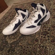 Nike HyperFuse Sneakers Stunning Navy and White Nike Basketball Shoes!!!! Worn Once!! Original Price Unknown. Nike Shoes Sneakers