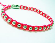 Neon Pink Micro Macrame Bracelet with Metal Ball Chain