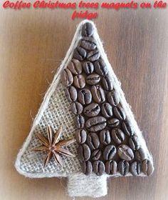 DIY Coffee Christmas Trees - magnets on the fridge Cottage Christmas, Felt Christmas, Christmas Home, Handmade Christmas, Christmas Ornaments, Christmas Trees, Christmas Craft Projects, Christmas Decorations, Coffee Bean Art