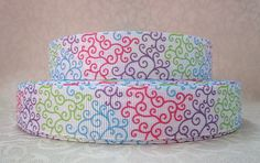 Multi Color Swirl 7/8 Inch Grosgrain Ribbon by the Yard for Hairbows, Scrapbooking, and More!! on Etsy, $1.10