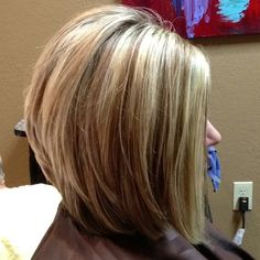 long layered bob. I want this style but with the burgundy and platinum blonde highlites