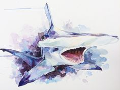 Hammerhead Shark in Space Watercolour 12 x 16in #art #design #artworks
