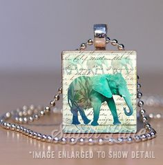 Elephant Scrabble Necklace by SugarLaneShoppe. Good luck and wisdom pendant necklace