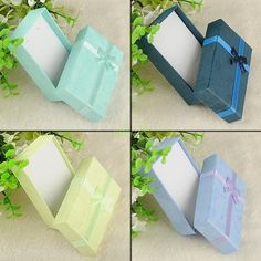 12 pcs jewelry ring bangle watch gift box square paper bow case package 4 colors