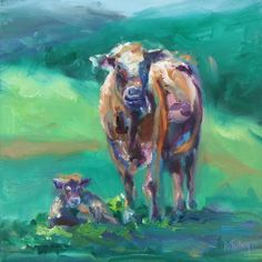 A Cow and her Calf, painting by Donna Tuten