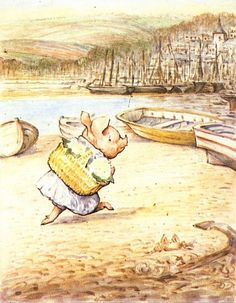 "From ""The Tale of Little Pig Robinson"" by Beatrix Potter - 'Little Pig Robinson walking with a basket'"