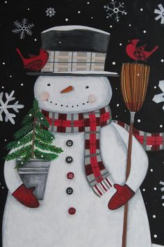 Christmas Snowman with Broom and Cardinal Folk Art Primitive Winter Painting Original design Bernadette Deming Christmas Wood, Christmas Snowman, Christmas Crafts, Christmas Ornaments, Christmas Quotes, Christmas Nails, Christmas Trees, Snowmen Pictures, Christmas Pictures