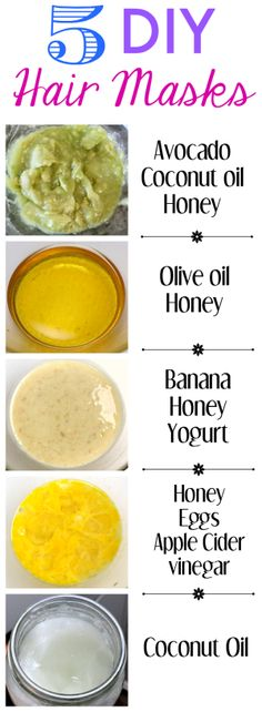 5 easy DIY hair mask recipes  #haircare #haircaretips #healthyhair  http://www.atalskinsolutions.com/