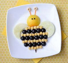 Fun Bee Snack made out of Kix cereal and various fruit. Good for kids.