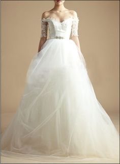 Romantic wedding dress with lace sleeves, tulle skirt and rhinestone belt - lovely!