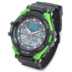 AK1272 SPORTS DIVING ANALOG + DIGITAL WATCH W/ EL BACKLIT / STOPWATCH / ALARM CLOCK - BLACK + GREEN