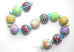 intricate and bright beads by Suzanne Noordewier of JustMade beads