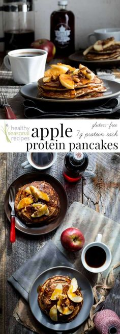 Behold, fall on a plate! These gluten-free Apple Protein Pancakes are going to be on your breakfast table for the entire fall season. Mark my words. They are made with oats, cottage cheese, eggs, and apples! You would never guess they don't have any flour Healthy Protein Pancakes, Healthy Breakfast Recipes, Brunch Recipes, Healthy Food, Dinner Recipes, Healthy Eating, Breakfast Pancakes, Pancakes And Waffles, Best Breakfast