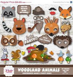 50% OFF WOODLAND ANIMALS Photo Booth Masks by FlairGraphicDesign