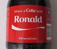 Rare Coca-Cola Share A Coke With RONALD 20 oz Bottle - expired 2015 your