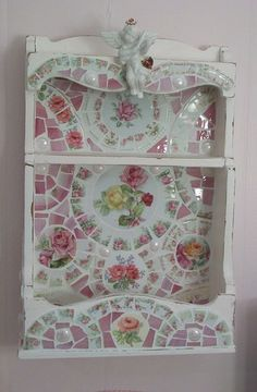 Shabby Pink Wooden Shelf China Mosaic Roses by hillspeak, via Flickr