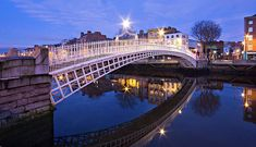 Ha'penny Bridge At Blue Hour - Dublin Print by Barry O Carroll Bridge Design, Travel Around Europe, Dublin City, Blue Hour, Sydney Harbour Bridge, The World's Greatest, Fine Art America, Landscape Photography, Instagram Images