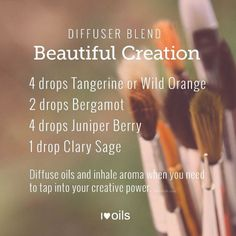 I've got a wonderful diffuser blend for you today. It's all about feeding your creative spirit. The oils in the blend are said to reduce fear, increase creativi