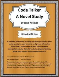 Code Talker A Novel Study Includes Vocab, Questions, Asse Plot Activities, Pre Reading Activities, Vocabulary Activities, Teaching Reading, Learning, Middle School Novels, Cause And Effect Activities, Code Talker, Texas Teacher