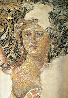 """aleyma:  """"Mona Lisa of Galilee"""", from the 3rd century city of Sepphoris, in what was then Roman Palestine. She is part of a large mosaic - whose main subject is Dionysus - which decorates the triclinium floor in a grand villa."""