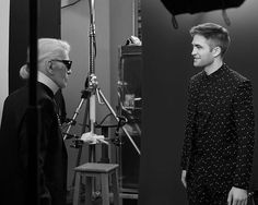 Too cute this Behind The Scenes pic of the DIOR HOMME Fall 2017 Black Carpet collection photo shoot by Karl Lagerfeld.