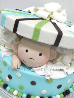 Peek-a-boo Baby Boy Cake