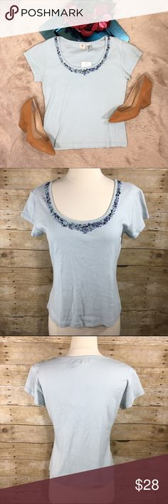 Anthropologie Cross Stitch Heart Beaded top NWT Women's Anthropologie Cross Stitch Heart light blue scoop neck short sleeve Beaded Knit Top.  Material: cotton Condition: new with tags Size: large  Length: 22.5 inches Pit to pit: 19 inches Anthropologie Tops