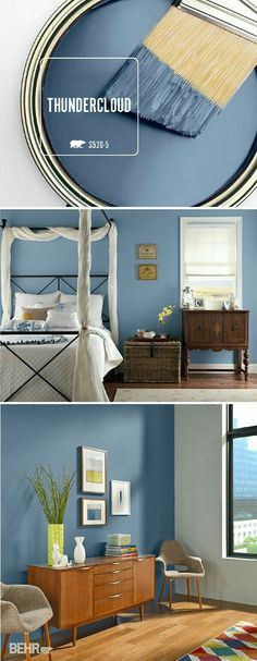 Example of deep blue as an accent wall (but this room has lots of light) ... Love this color for master bedroom