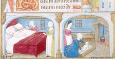 Pierpont Morgan Library. Manuscript. M.1001. Title: Fol. 034r, Virgin Mary: Visitation, John Baptist: Preaching, and John Baptist: Birth : miniature and margin. Published/Created: [Poitiers, France, ca. 1475]