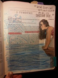 Any of you heard of/have a journaling bible? I've had one for about a year now and it's so inspiring. The possibilities are endless! My latest piece is for 2 Timothy 1:7 and it suits Moana well || by Rosa @pargaran
