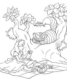 Here are two coloring images from the Disney movie Alice in Wonderland - one coloring page is of Alice and the other is of the smiling Ches...