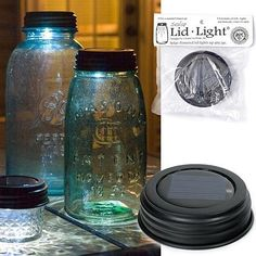 solar powered mason jar lids, would make cool patio lights
