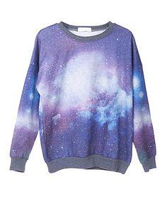 Cotton Sweatshirt with Galaxy Print Pattern #Chicnova Fashion
