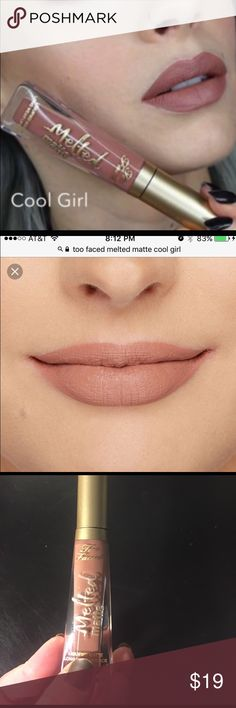 FLASH SALE Too Faced Melted Matte Liquid Lipstick ALL MAKEUP ON SALE! Bundle deal still applies! ✌️               This shade is Cool Girl and it is THE perfect nude which I've been searching for forever. I've included a couple stock photos to show how different it can look on different skin tones - but it truly is flattering on everyone I've seen it on. Priced on the high end because I really do love this one, but gotta make cuts  I am definitely open to offers though, try me! Used…