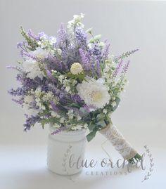 Wildflower Bridal Bouquet - Rustic Bouquet, Lavender Wildflower Bouquet, Shabby Chic Bouquet, Bridal. ◅