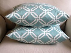 """SEAGLASS and WHITE geometric Pillow Covers 18"""" PAIR. $48.00, via Etsy."""
