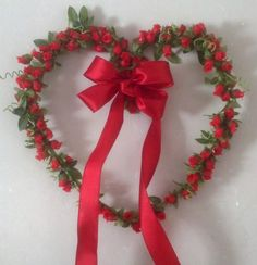 Red Rose Heart Wreath Home Decor Red Rose Handmade by amorevivo