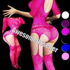 Daisland Lingerie Teddy Stockings Bodysuit Floral Mesh Thong Top Women Sleepwear G-string Body Fishnet One Size: Plus To 6xl 1 Stocking. Underwear And Excluded