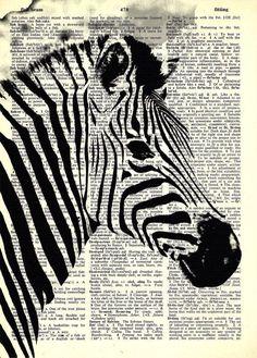Dictionary Art - Zebra