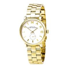 9f3f9159d0c Montre pour femme   Marc by Marc Jacobs MBM3243 Women s Baker White Dial  Yellow Gold Plated