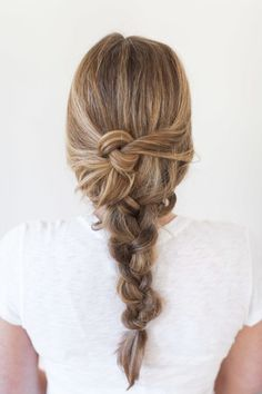 Messy knotted braid: http://www.stylemepretty.com/living/2015/06/03/summer-hair-playbook/