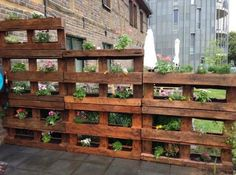 Modern Wooden Pallet Fences Pallet Planter- would love this for the bunnies in the backyard. Could put lettuce in them on the lower level!Pallet Planter- would love this for the bunnies in the backyard. Could put lettuce in them on the lower level! Vertical Pallet Garden, Wood Pallet Planters, Vertical Gardens, Pallets Garden, Wood Pallets, Wood Pallet Fence, Pallet Gardening, Planters On Fence, Fence Stain