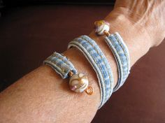 As The Card Rack Turns: Wrapped Denim Bracelet--A Tutorial