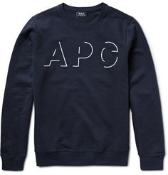 A.P.C. Embroidered Loopback Cotton-Jersey Sweatshirt ($180)
