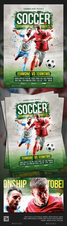 Buy Soccer Championship Flyer by tarommir on GraphicRiver. Soccer Championship Flyer Features Easy editable text Organised layers and grouped Print size: inch Bleed area: Kenyan Coffee, Sports Flyer, Free Park, Free Fonts Download, Flyer Template, Soccer, Presents, Templates, Gifts